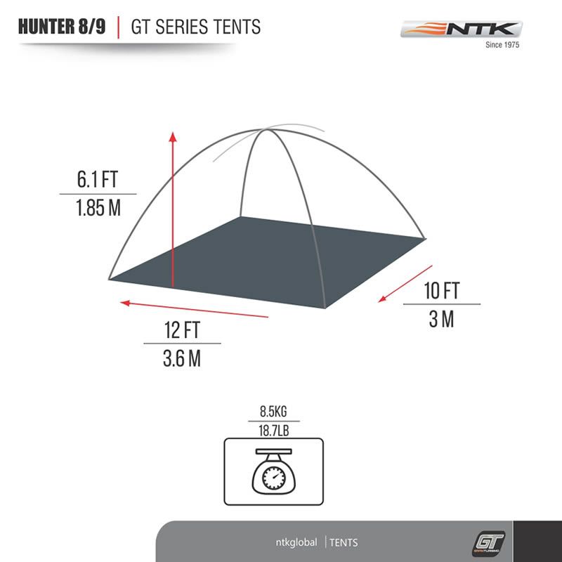 environ 3.66 m NTK Hunter GT 8 To 9 personne 10 par 12 ft Outdoor Dome Woodland Camo Camping Tente