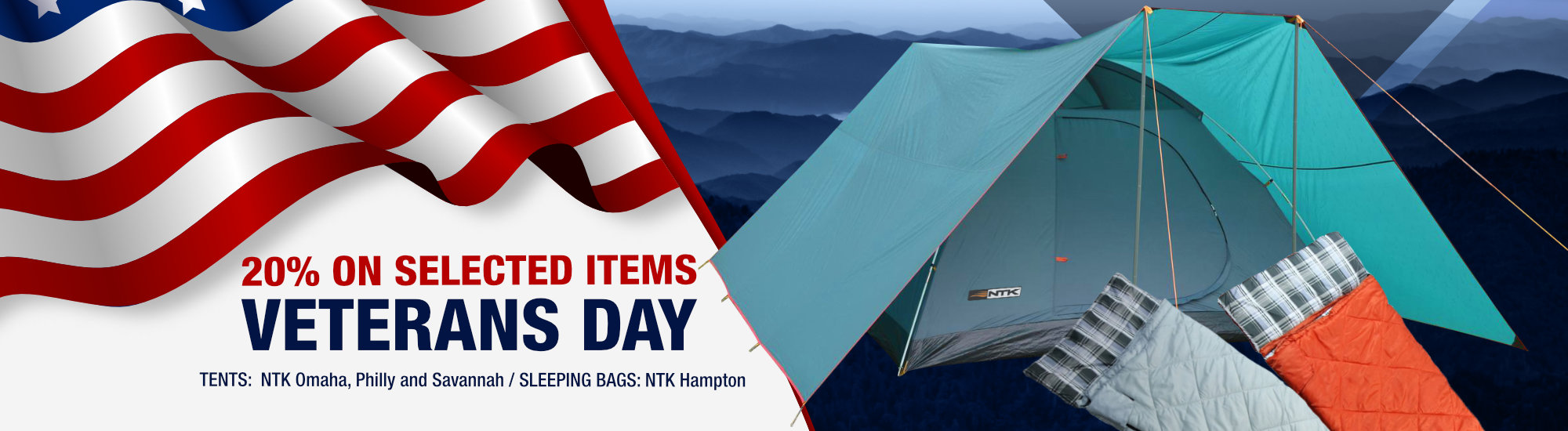 20% Off on selected items - Veterans Day 2019 NTK