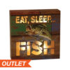"River's Edge 6""x6"" Led Box Eat Sleep Fish"