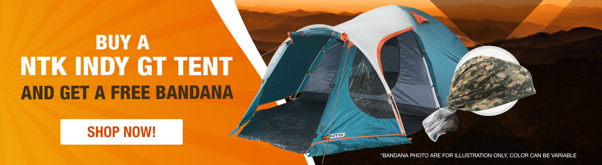 Buy a NTK Indt GT Tent and get a free bandana!