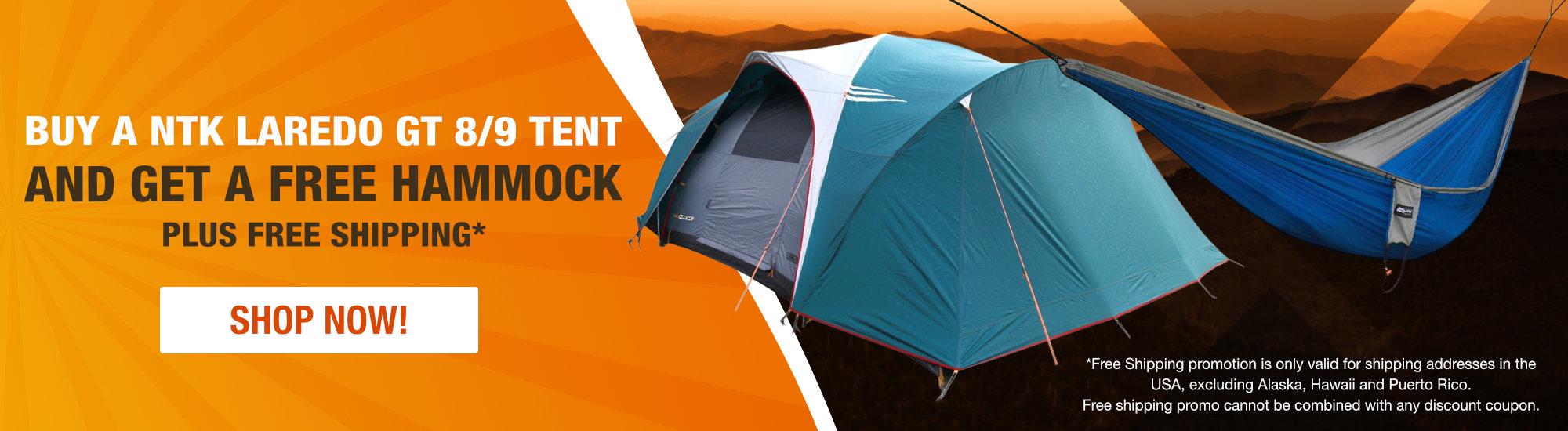 NTK Laredo GT 8/9 person Tent plus free hammock!