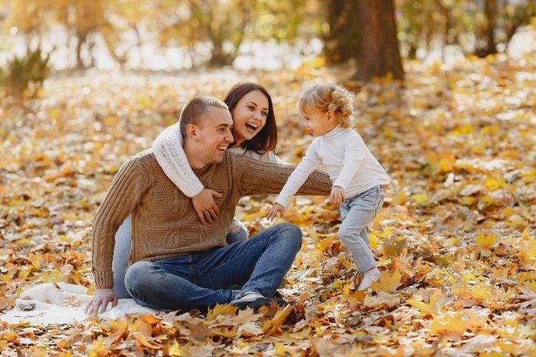 Family enjoying fall